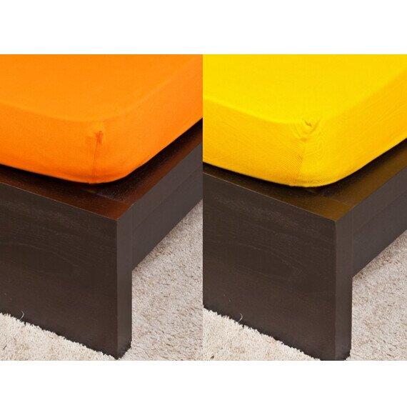 Pamut Jersey narancs színű gumis lepedő 160x200 cm