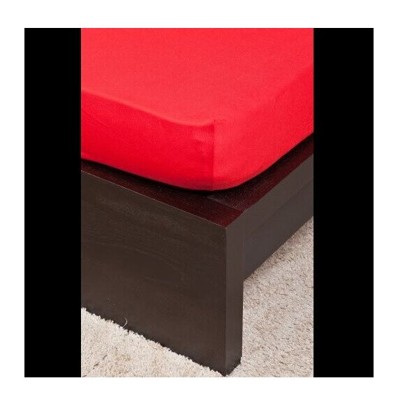 Pamut Jersey piros gumis lepedő 160x200 cm