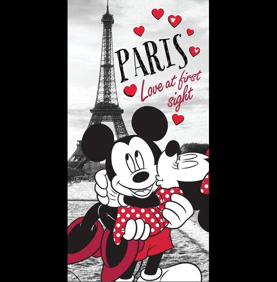 Minnie es Mickey eger Parizsban pamut torolkozo 70x140 cm