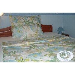 Kék-zöld virágos 3 részes pamut-krepp ágyneműhuzat