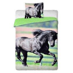 Fekete ló 2 részes pamut-vászon ágyneműhuzat