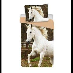 Fehér ló 2 részes pamut-vászon ágyneműhuzat