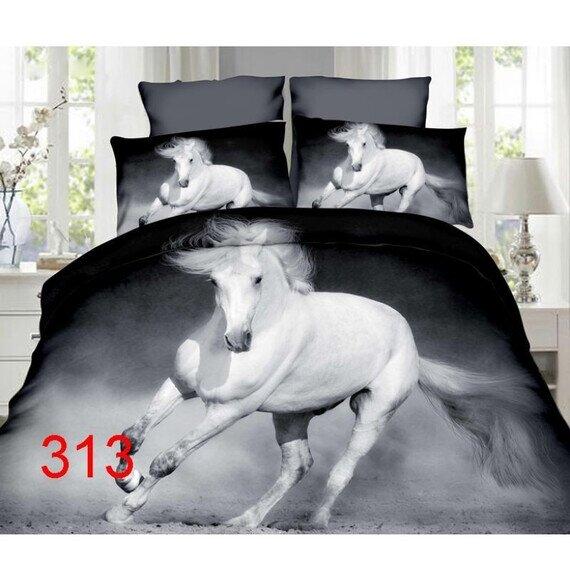 Fehér ló 3D pamut ágyneműhuzat 180x225 cm lepedővel