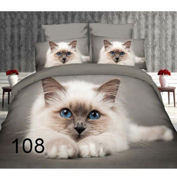 Perzsa cica 3D pamut ágyneműhuzat 180x225 cm lepedővel