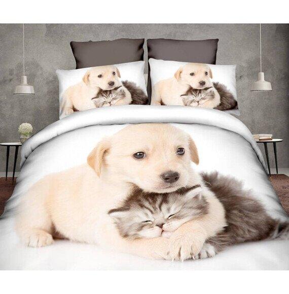 Cica-kutya szeretet 3D pamut ágyneműhuzat 180x225 cm lepedővel