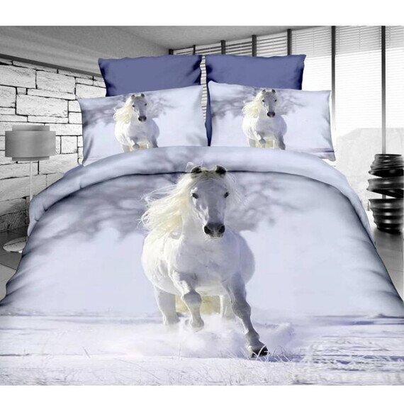 Fehér ló a hóban 3D pamut ágyneműhuzat 180x225 cm lepedővel