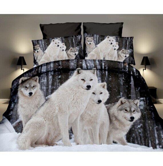 Farkasok az erdőben 3D pamut ágyneműhuzat