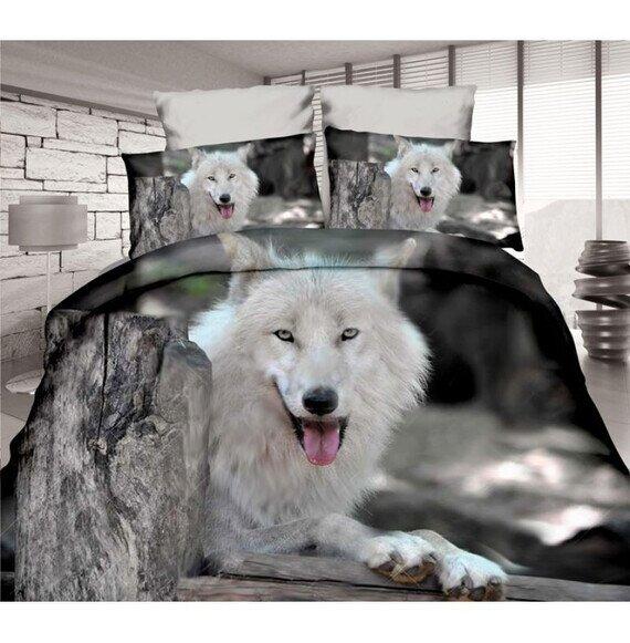 Fehér farkas 3D pamut ágyneműhuzat