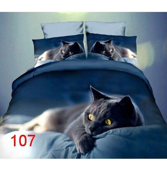 Fekete cica 3D pamut ágyneműhuzat 180x225 cm lepedővel