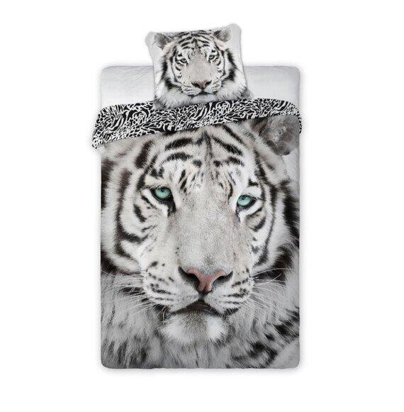 Fehér tigris 2 részes pamut-vászon ágyneműhuzat