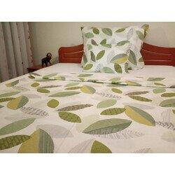 Zöld levelek 3 részes pamut-szatén ágyneműhuzat