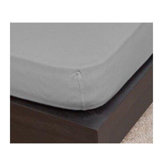 Pamut Jersey grafit szürke gumis lepedő 80-100x200 cm