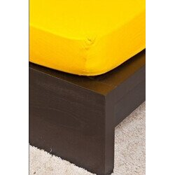 Pamut Jersey kukoricasárga gumis lepedő 160x200 cm