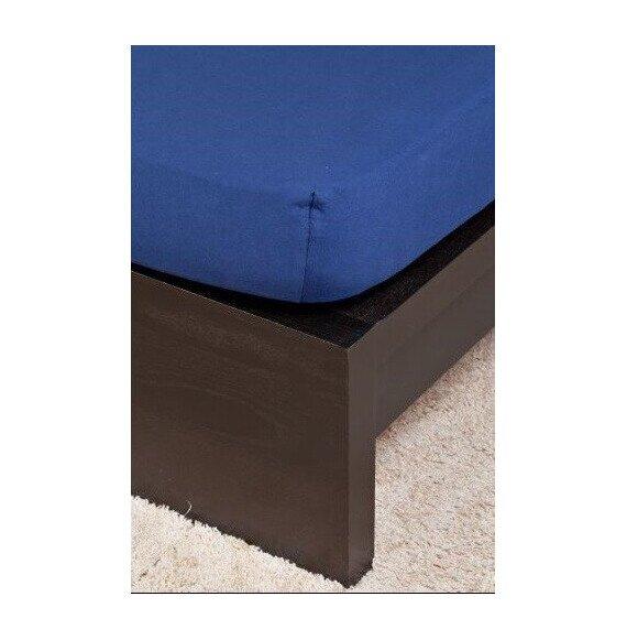 Pamut Jersey sötétkék gumis lepedő 200x200 cm