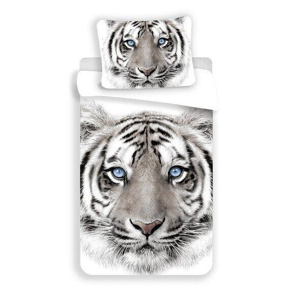 Fehér tigris 2 részes pamut-vászon gyerek ágynemű
