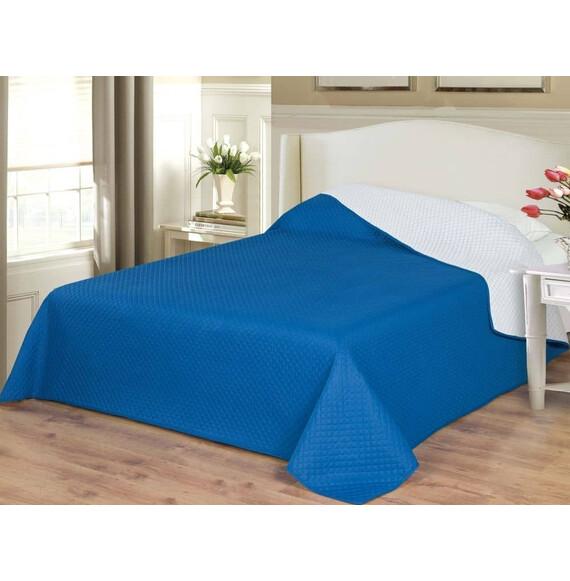 Naturtex ágytakaró Emily microfiber fehér-kék kockás 235x250cm