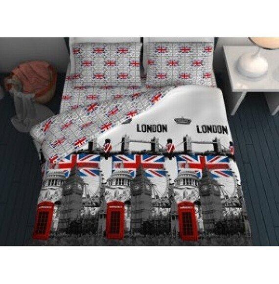 London mintás 3 részes pamut-vászon ágyneműhuzat